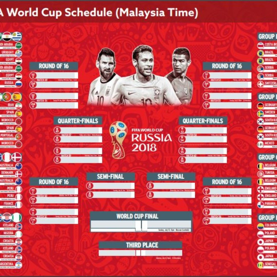 Jadual Fifa World Cup 2018 Waktu Malaysia Sports Other On Carousell World Cup Schedule World Cup Final World Cup 2018