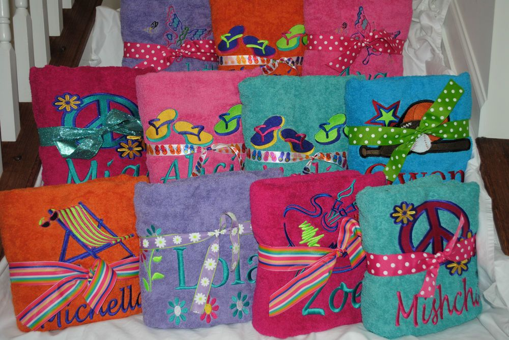 Personalized Bath/Beach Towel with FREE Custom Embroidery - Many Colors