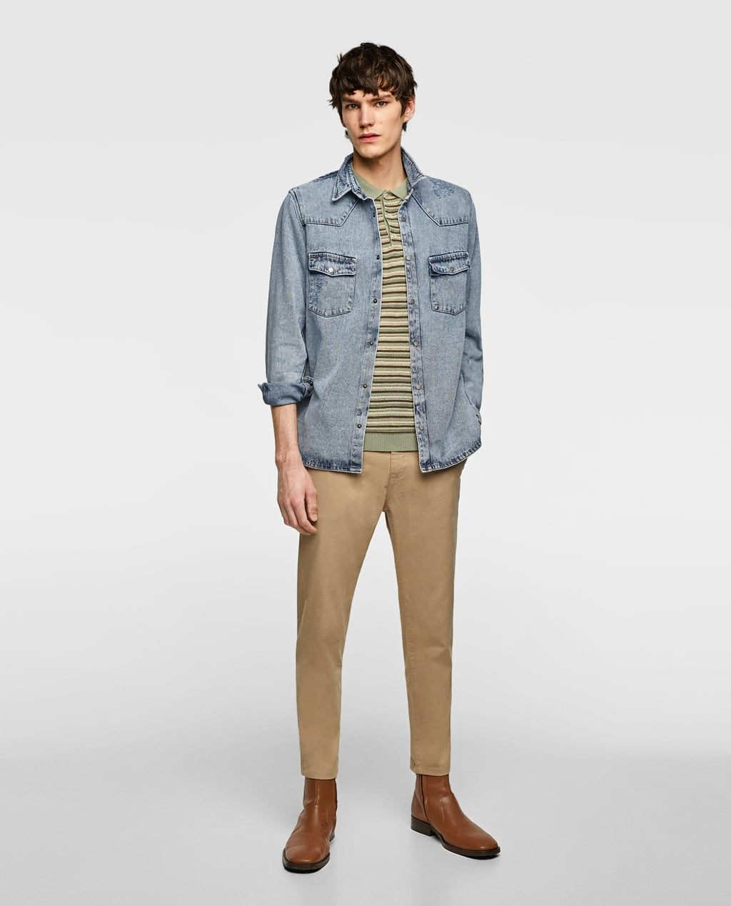 289a91e832 Image 1 of RIPPED DENIM OVERSHIRT from Zara | Mens Fashion | Ripped ...