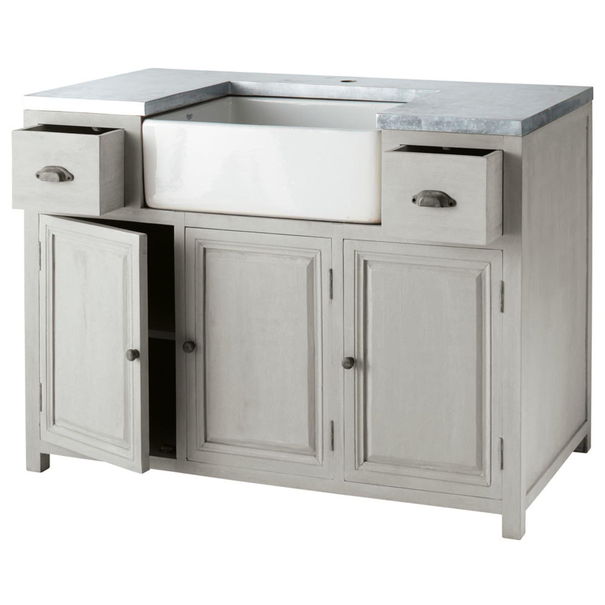Mobile Basso Da Cucina Grigio In Acacia Con Lavello L 120 Cm Zinc Maisons Du Monde Kitchen Sink Units Kitchen Furniture Storage Kitchen Cabinets With Sink