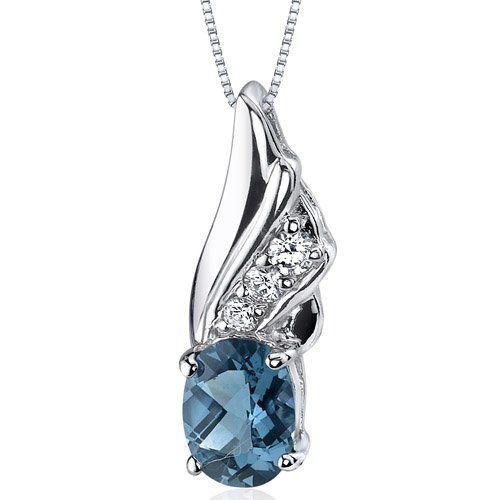 Graceful Angel 1.50 carats Oval Shape Sterling Silver Rhodium Nickel Finish London Blue Topaz Pendant Peora