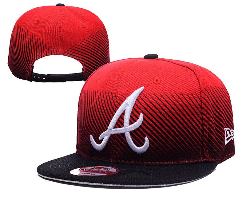 Men s Atlanta Braves New Era Red Navy MLB Line Fade Snapback Hat  b67671044d4