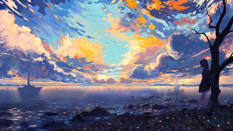 Person Leaning On Tree Illustration Landscape Digital Art Coast Sky Anime Anime Girls Water Clouds Nature Trees Deviantart 5k Wallpaper Hdwallpaper