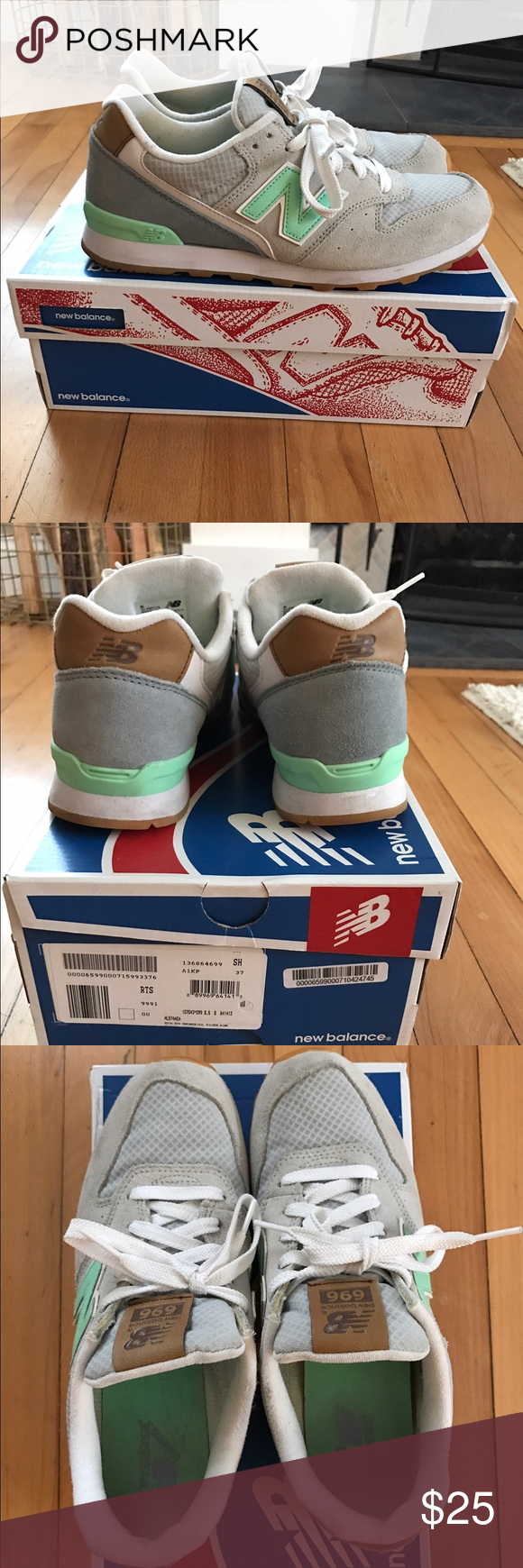 Women's new balance sneakers Mint and grey. Slight wear. Removable insole New Balance Shoes Sneakers