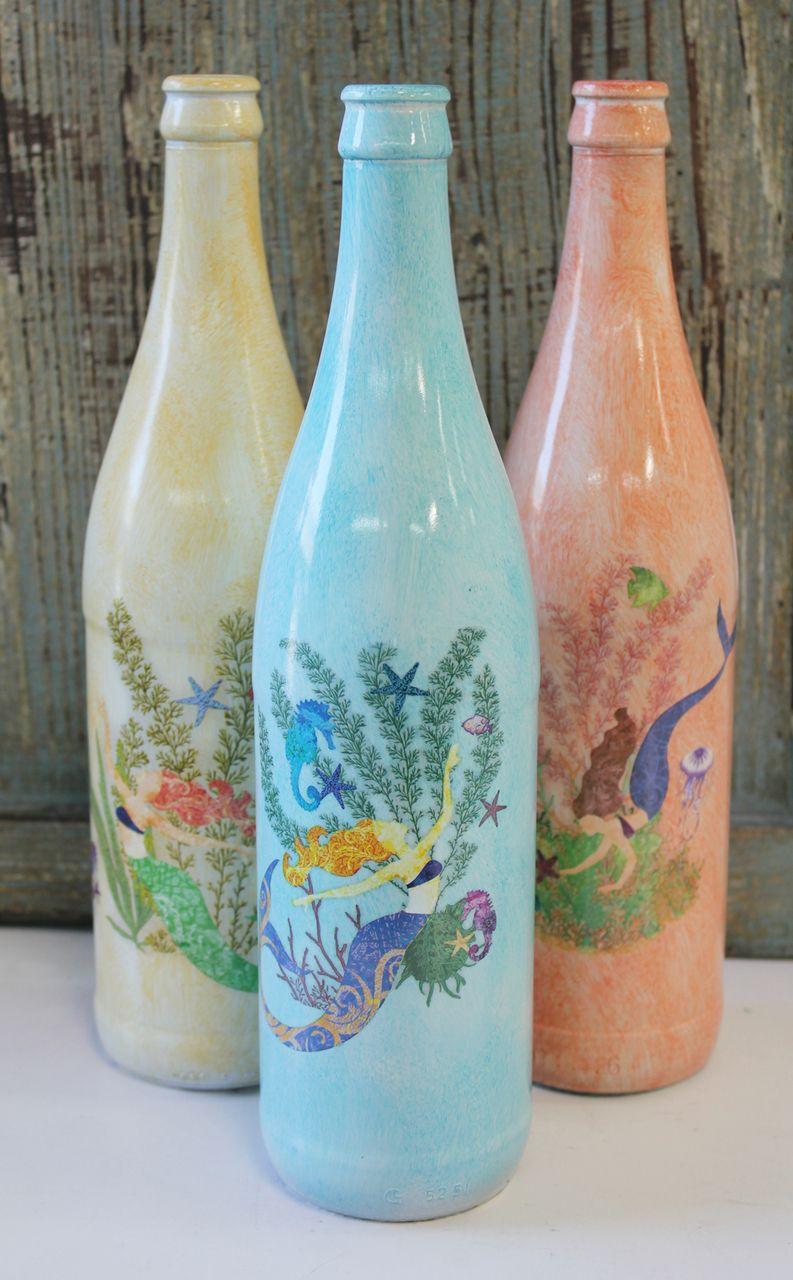 Glass Mermaid Bottles - Nautical Mermaid Vase - Coastal Kitchen ...