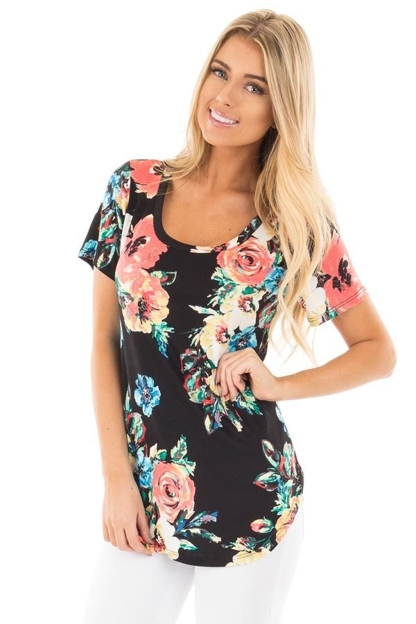 ec7d1d414117 Lime Lush Boutique - Black Tee with Coral and Blue Watercolor Floral Print,  $34.99 (