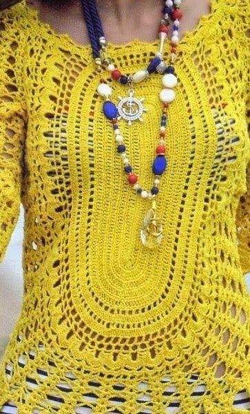 91b9f7a77ef4 Saida de Praia Amarela em Croche com flores e manga, pode usar como blusa  ou vestido, veja o gráfico e dicas de como fazer o croche