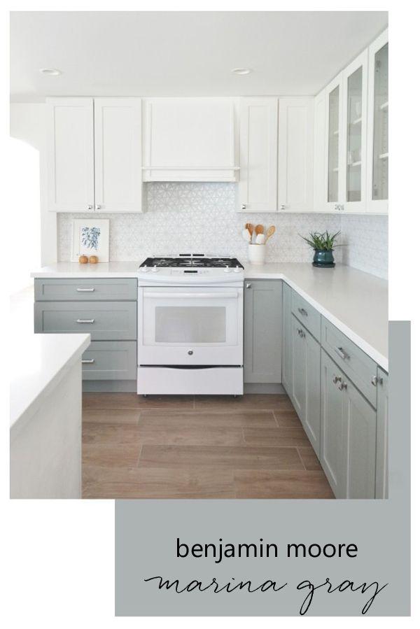 Benjamin Moore Marina Gray Kitchen Cabinets - Centsational Girl ...