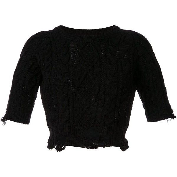 70cf7a0f262e Miharayasuhiro distressed cable knit jumper ( 312) ❤ liked on Polyvore  featuring tops