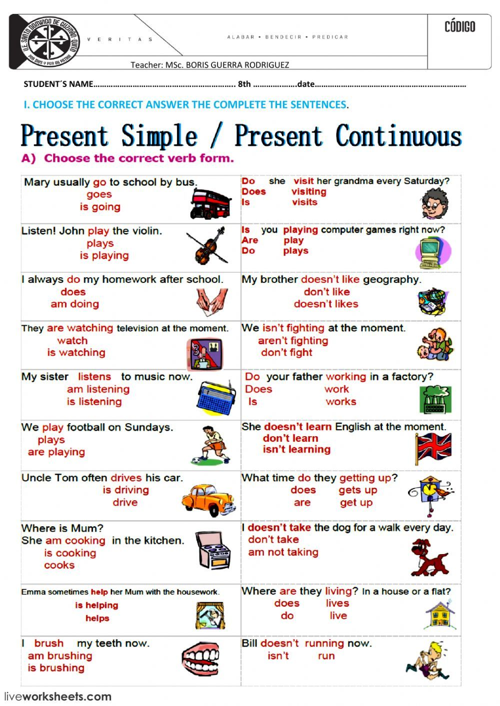 PRESENT SIMPLE AND CONTINUOUS interactive and downloadable