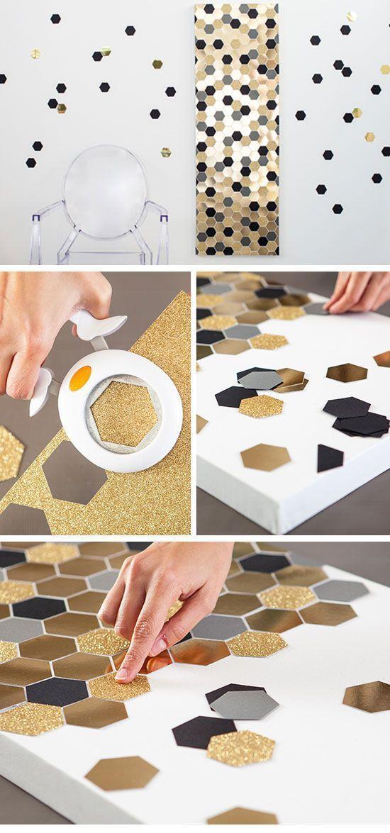 DIY Wall Art - Hexagon   24 DIY Teenage Girl Bedroom Decorating ...
