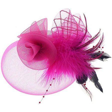 Buy Fascinator Hats Tea Party Hats Mesh Net Head Accessories for Women Rose  Red at Walmart.com d84203be67d