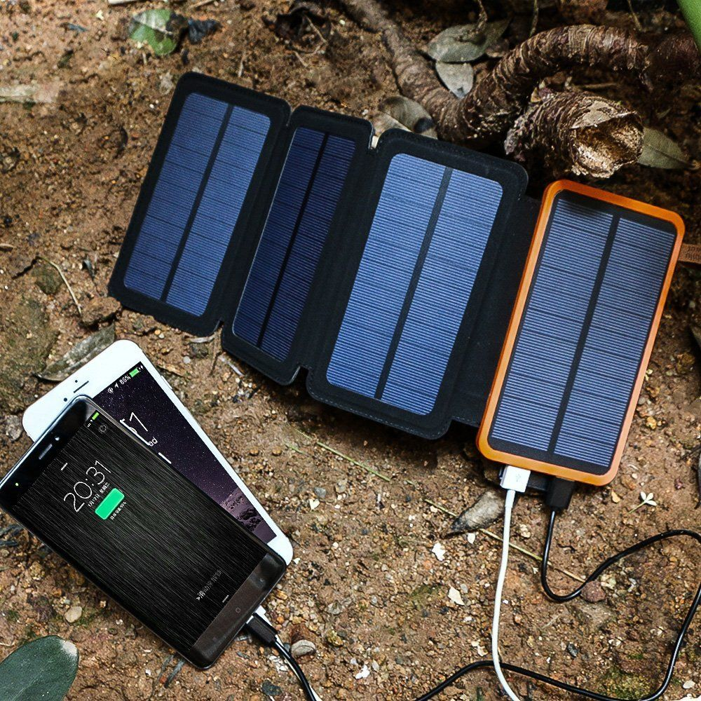 X Dragon 10000mah Solar Charger With 4 Solar Panels Perfect For Camping And Hiking Solar Charger Solar Power Bank Solar Usb Charger