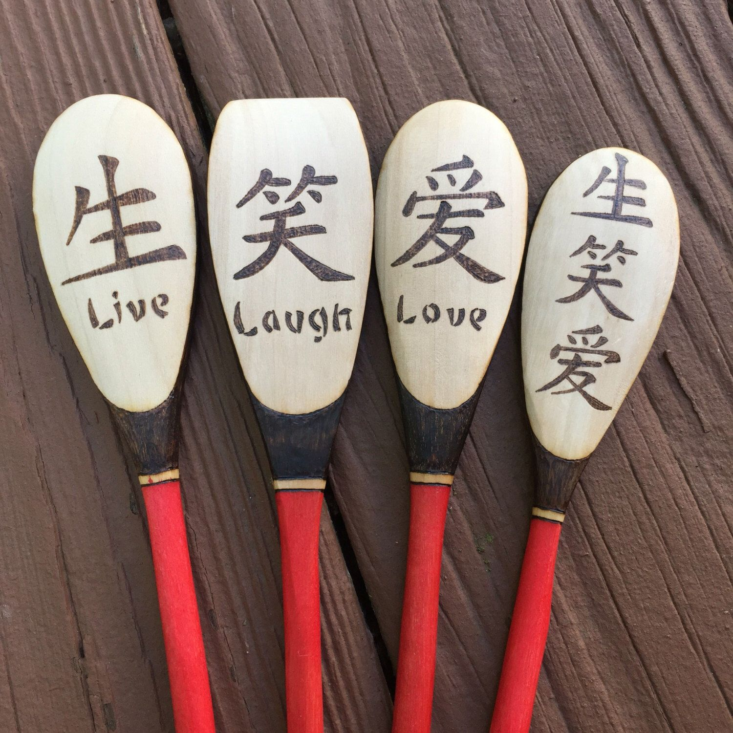 Wood Burned Live Laugh Love Spoons Asian Characters Asian Kitchen
