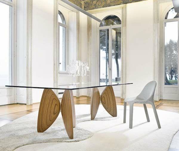 table verre et bois salle manger