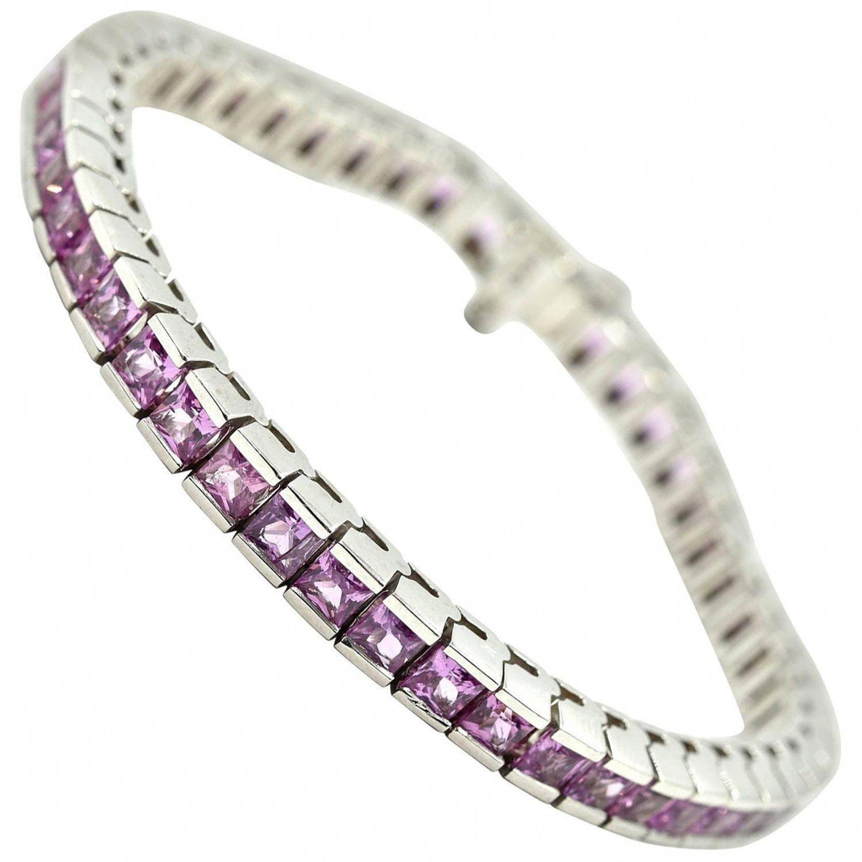 Pink Sapphire Tennis Bracelet 14k White Gold 14caratgoldbracelet Tennisbracelets Stylish Bracelet Womens Bracelets Bracelets