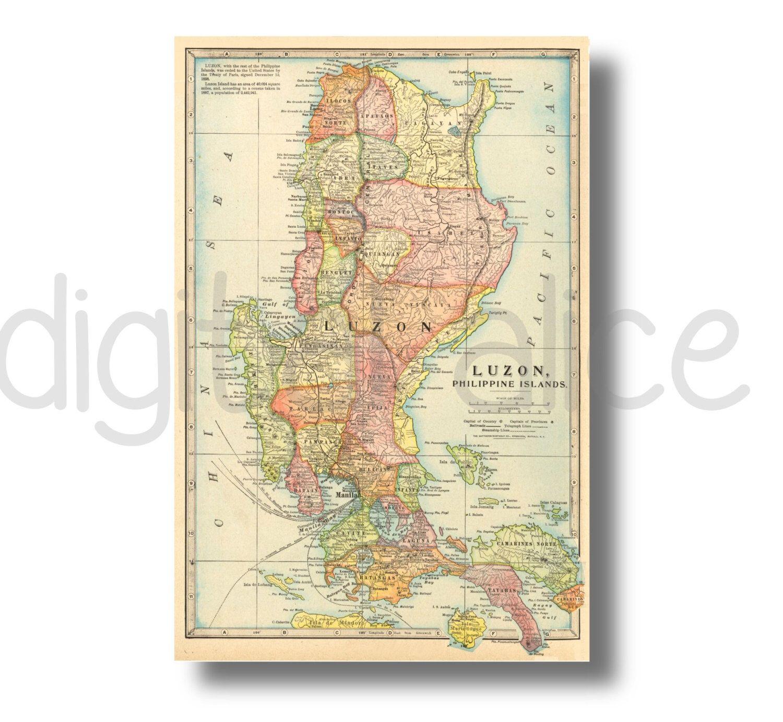 Vintage printable map philippines instant download digital vintage printable map philippines instant download digital printable map philipino map 3 sizes publicscrutiny Images