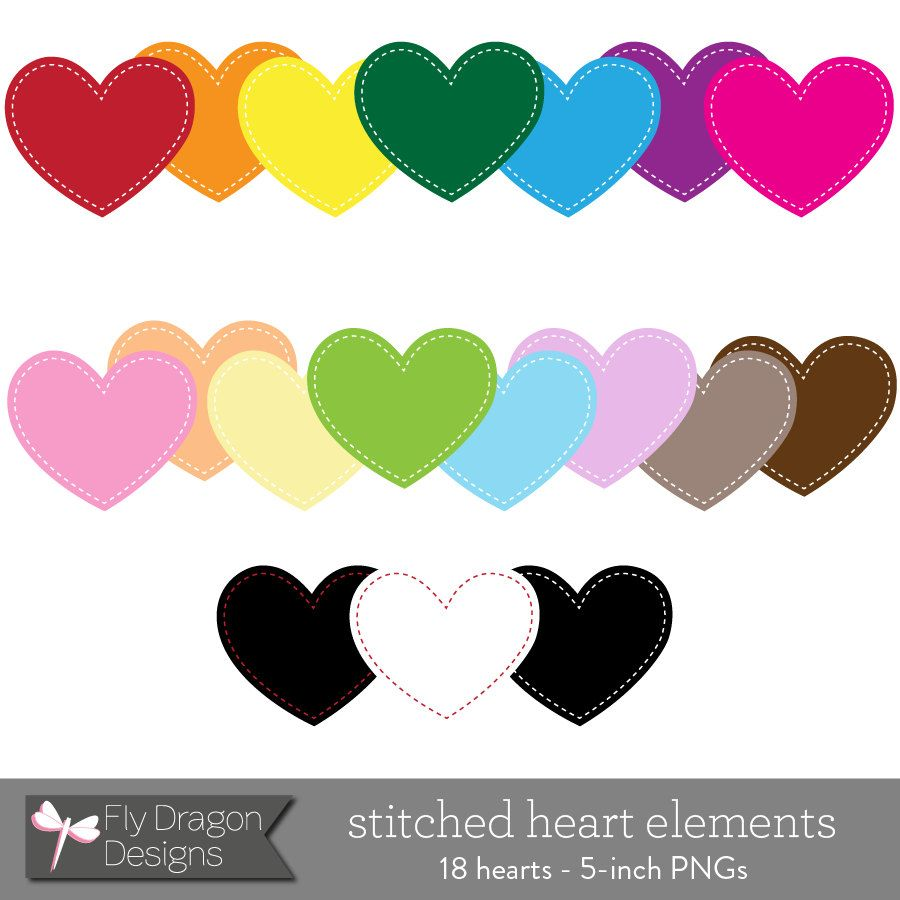 Digital Clip Art - Stitched Hearts - BUY 2 GET 1 - Digital Clip Art for Photographers & Scrapbookers. $3.25, via Etsy.