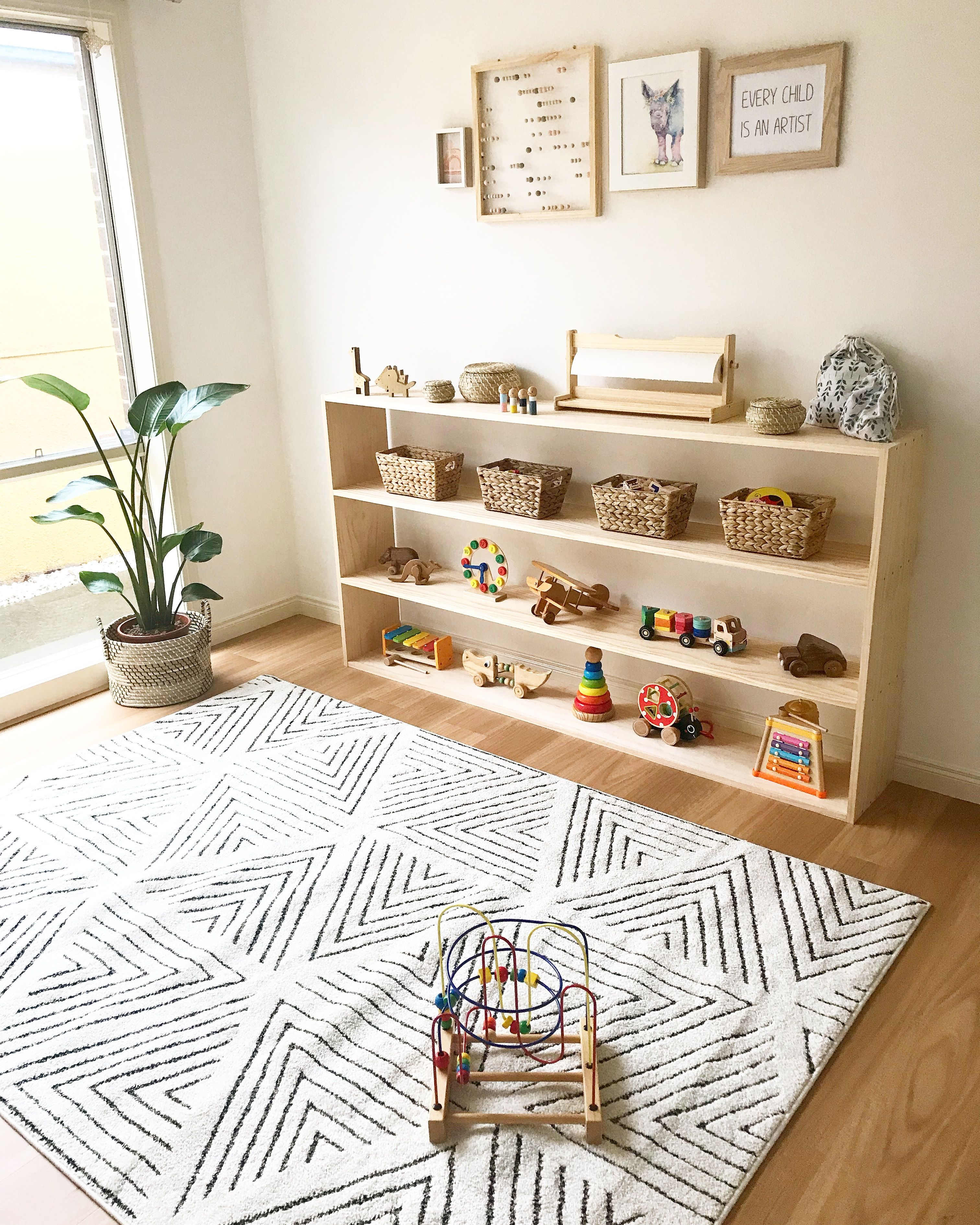 Our Diy Montessori Toy Shelf Kids Room Inspiration Toy Shelves Kid Room Decor