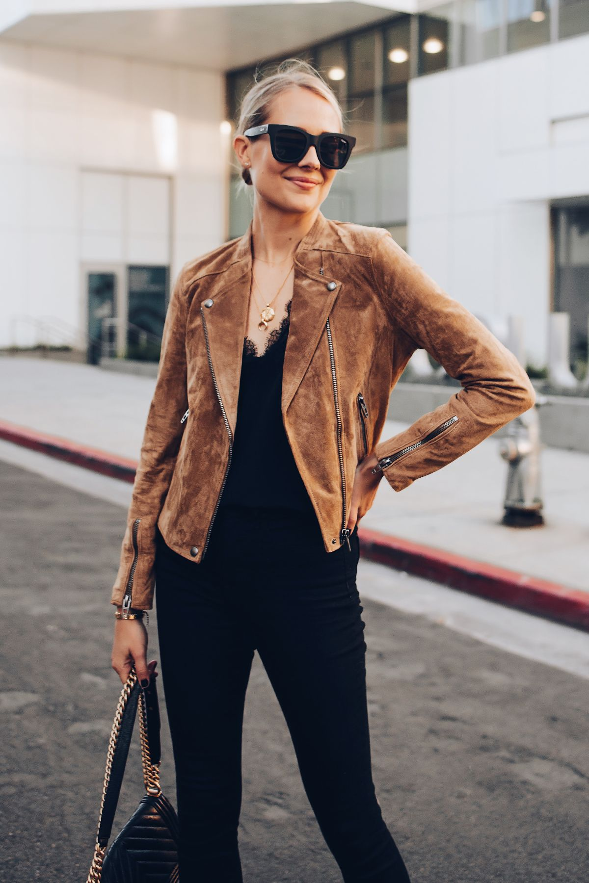 88ccc194521 Blonde Woman Wearing Blanknyc Tan Suede Moto Jacket Black Lace Cami Black  Skinny Jeans Outfit Fashion Jackson San Diego Fashion Blogger Street Style