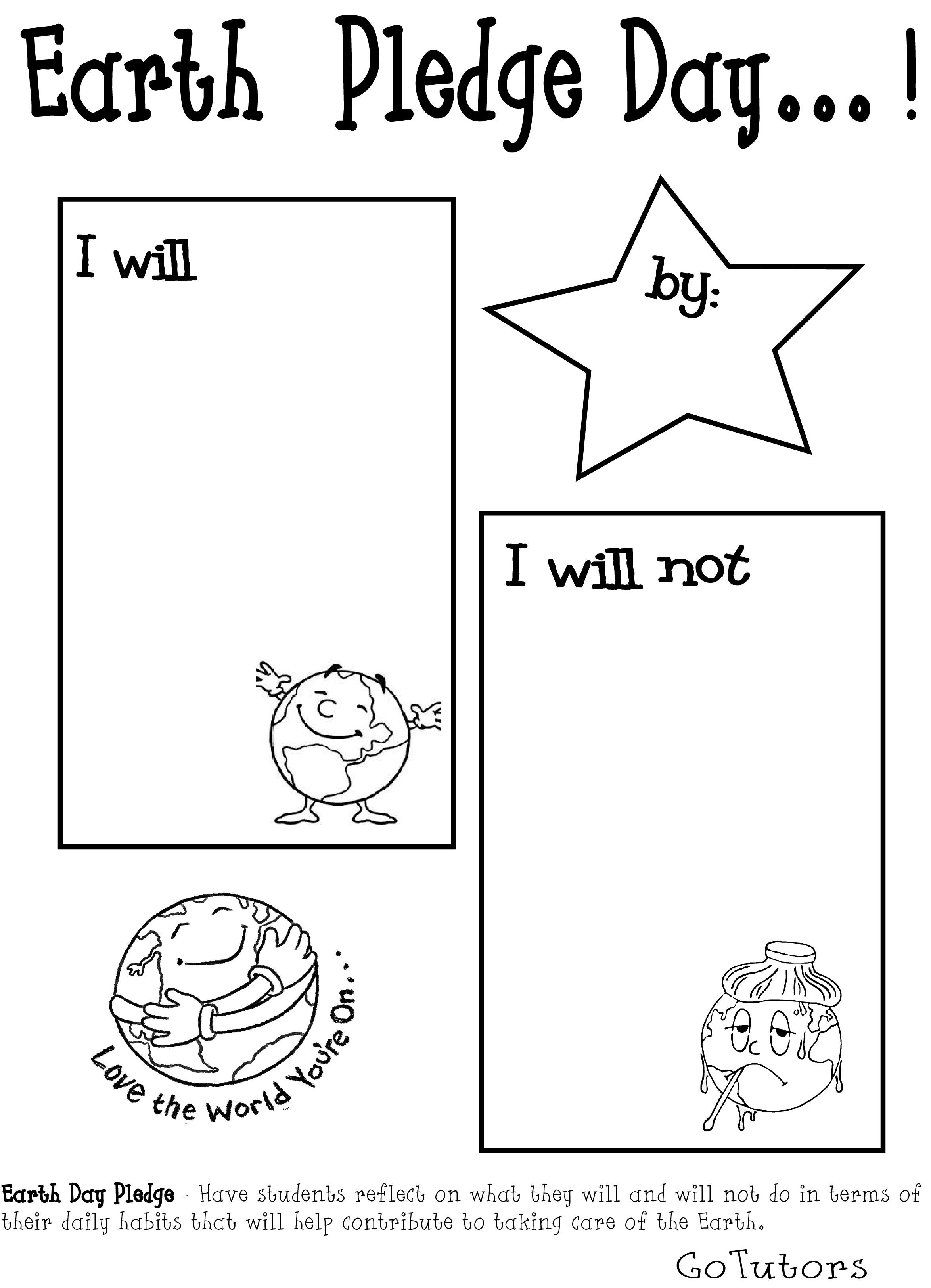 Earth Day Pledge Worksheet
