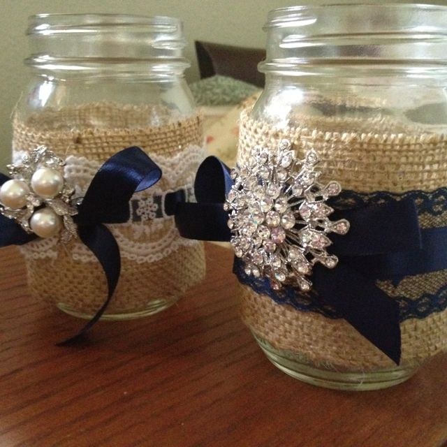 Vintage Wedding Ideas Mason Jars: Burlap And Lace Wedding Centerpieces