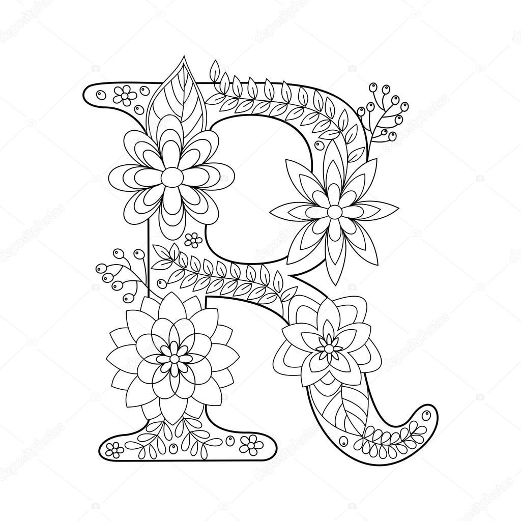 Letter R coloring book for adults vector — stock