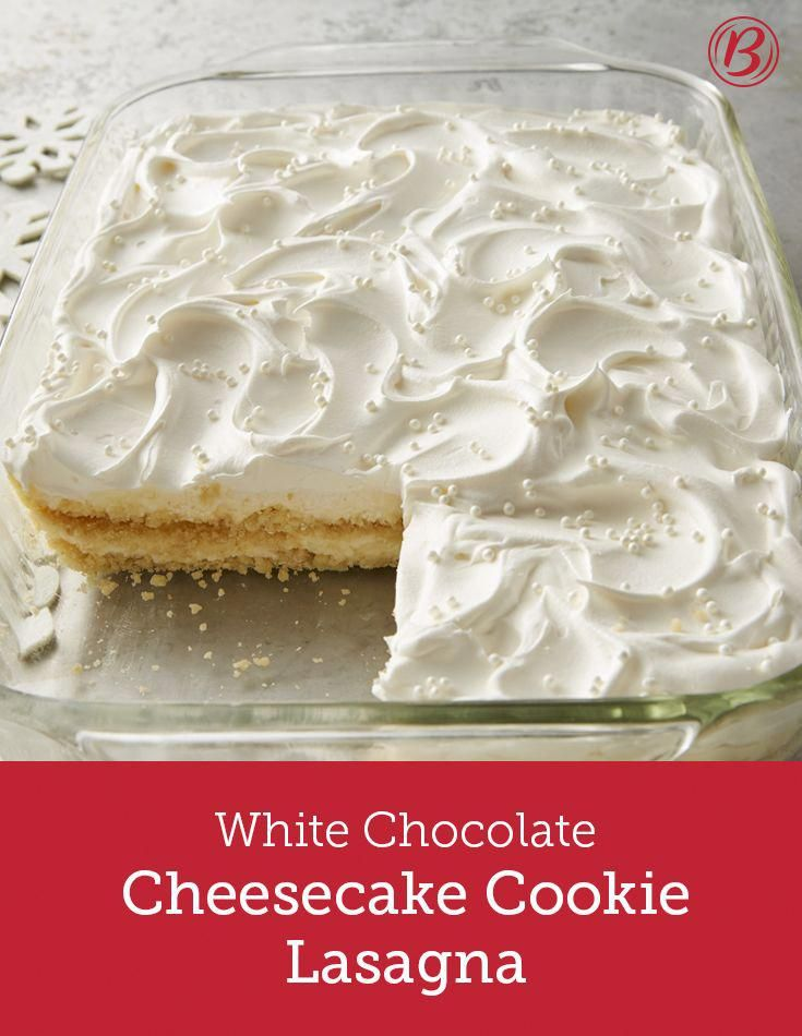 This creamy cheesecake dessert lasagna is a potlucker's fantasy! Easy to prep ahead of time, it travels like a dream, primed and ready for the holiday party season.  When layered with Cool Whip topping the cream cheese-pudding frosting looks like snowdrifts! To ensure that you get just the right consistency, make the cream cheese pudding mixture exactly as directed, slowly and gradually. #cheesecakedessertseasy
