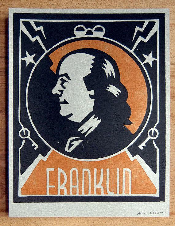 Andrew Ellis 'Benjamin Franklin', Lino Block Print