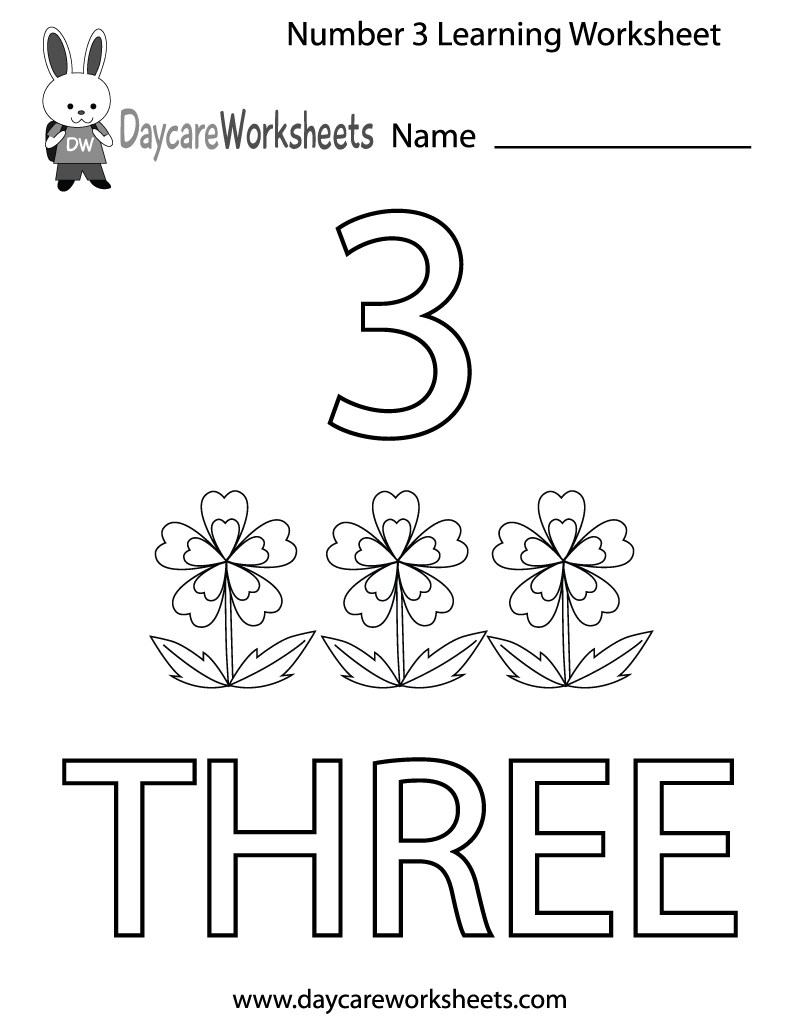 This free printable worksheet helps preschoolers learn the number – Number 3 Worksheets