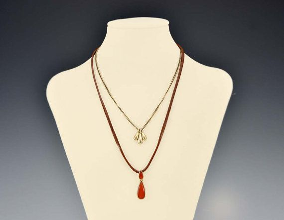 Leather Necklace Orange Gold Brass Drop Pendant by Karmalings