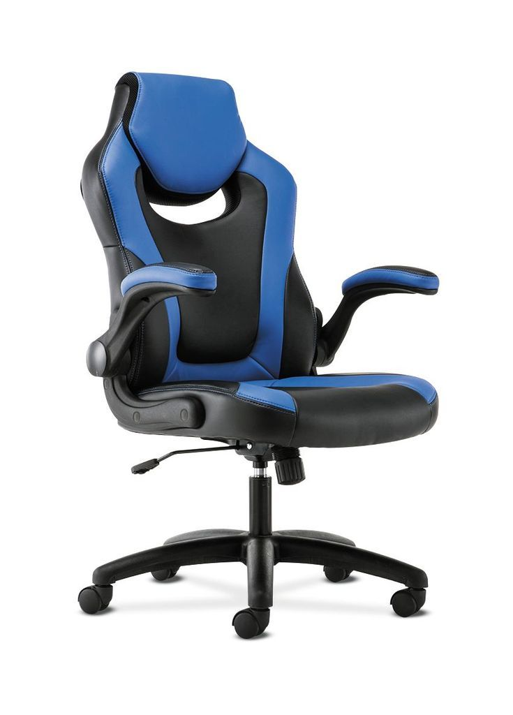 Hon racing style gaming chair flipup arms black and