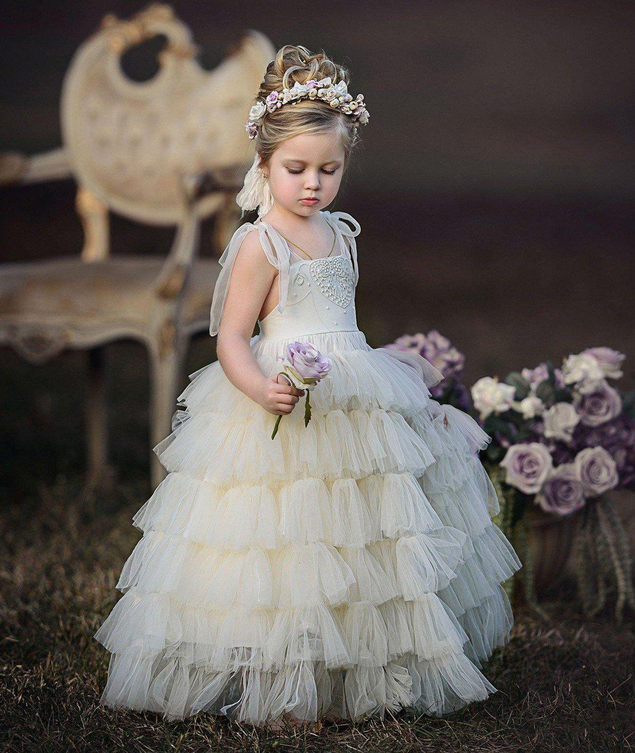 20839c0569 Ivory Spaghetti Straps Tulle Flower Girl Dresses