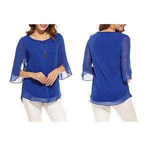 e4126160cc40 Hount Women Casual Loose Pullover Chiffon Blouse 3 4 Sleeve Solid Chiffon  Shirt (S