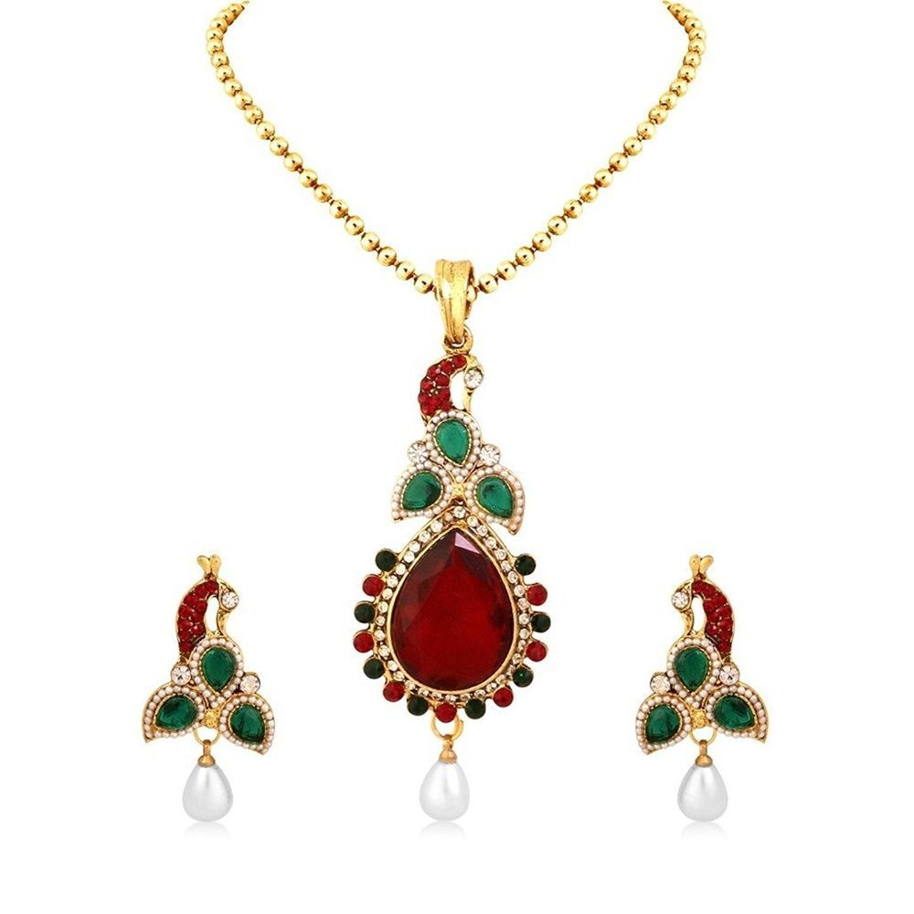 Gold Plated Red Green Stone Amazing Peacock Style Bollywood Necklace Pendant Set #natural_gems15