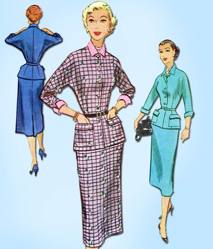 1950s Vintage McCalls Sewing Pattern 9325 Misses Two Piece Dress ...