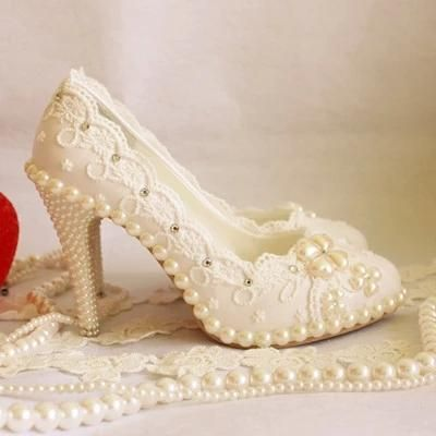 Blue Shoes Wedding Elegant White Lace Wedding Shoes Rhinestones Bridal Shoes  Crystal Pearl Handmade Custom Made Shoes Flat To 10cm Heel Wedding Shoes  Low ... 21e00ff3f4