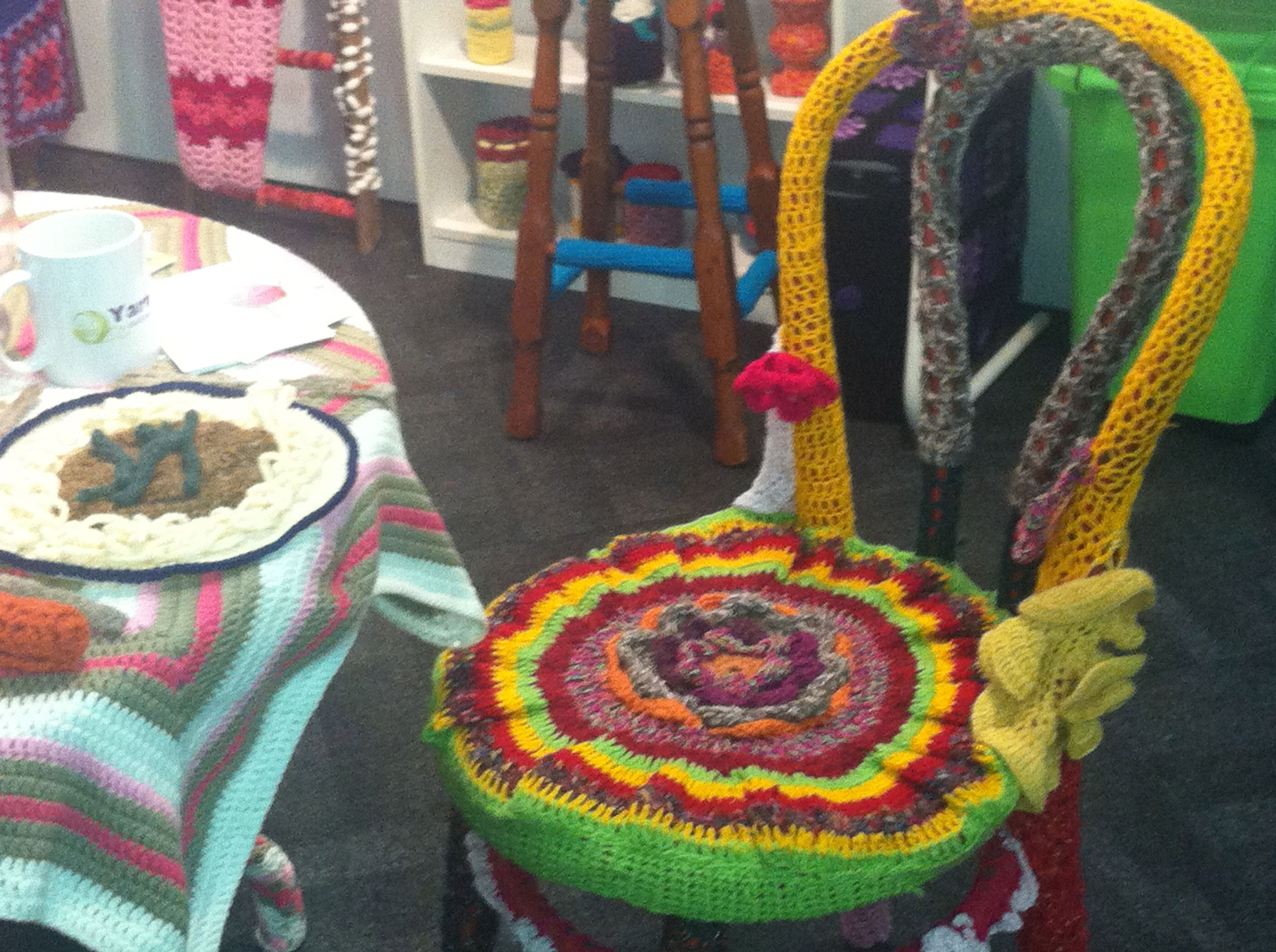 Chair in a yarn bombed kitchen. 2013 Royal Melbourne Show