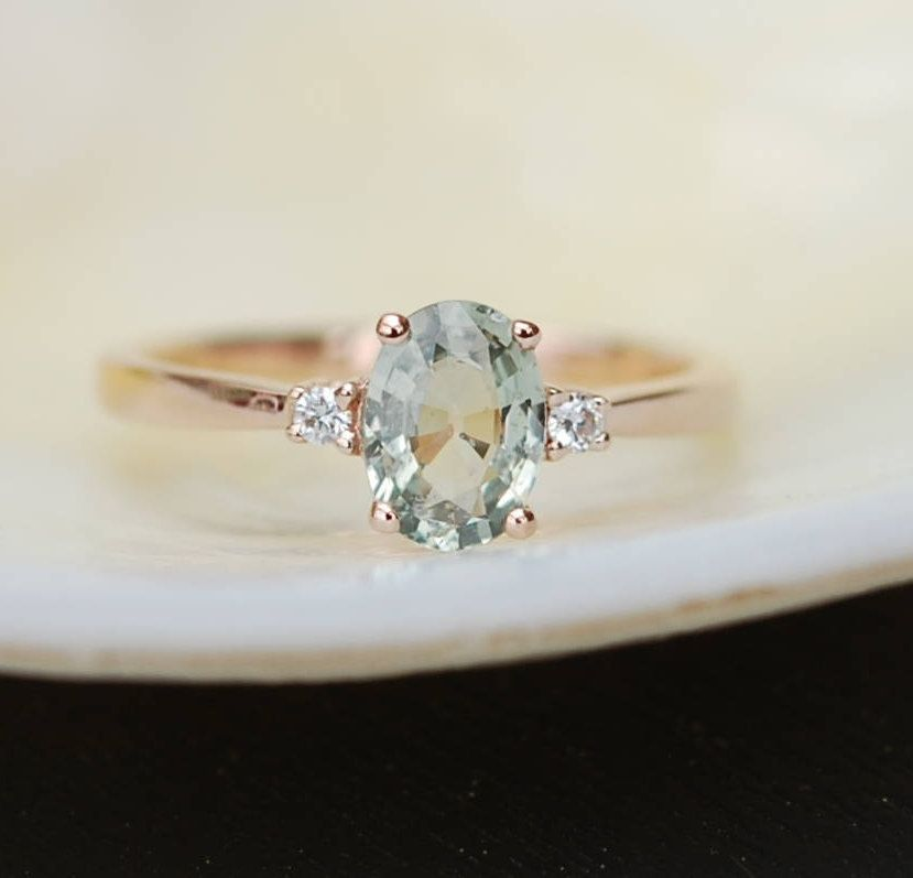 Engagement Ring Under 1000 Mint Sapphire Engagement Ring Promise Ring Oval Engagement Rings Under 1000 Gemstone Engagement Rings Engagement Rings Sapphire