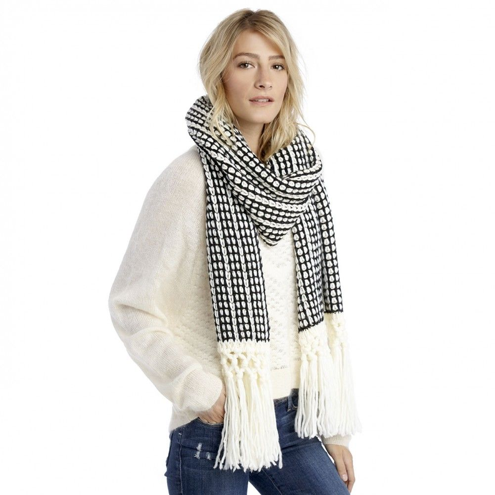 mixed knit scarf with fringe - Black Cream