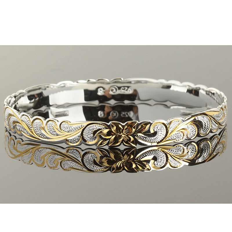 Hawaiian Jewelry Queen Cut Out Two Tone Baby Bangle 8mm