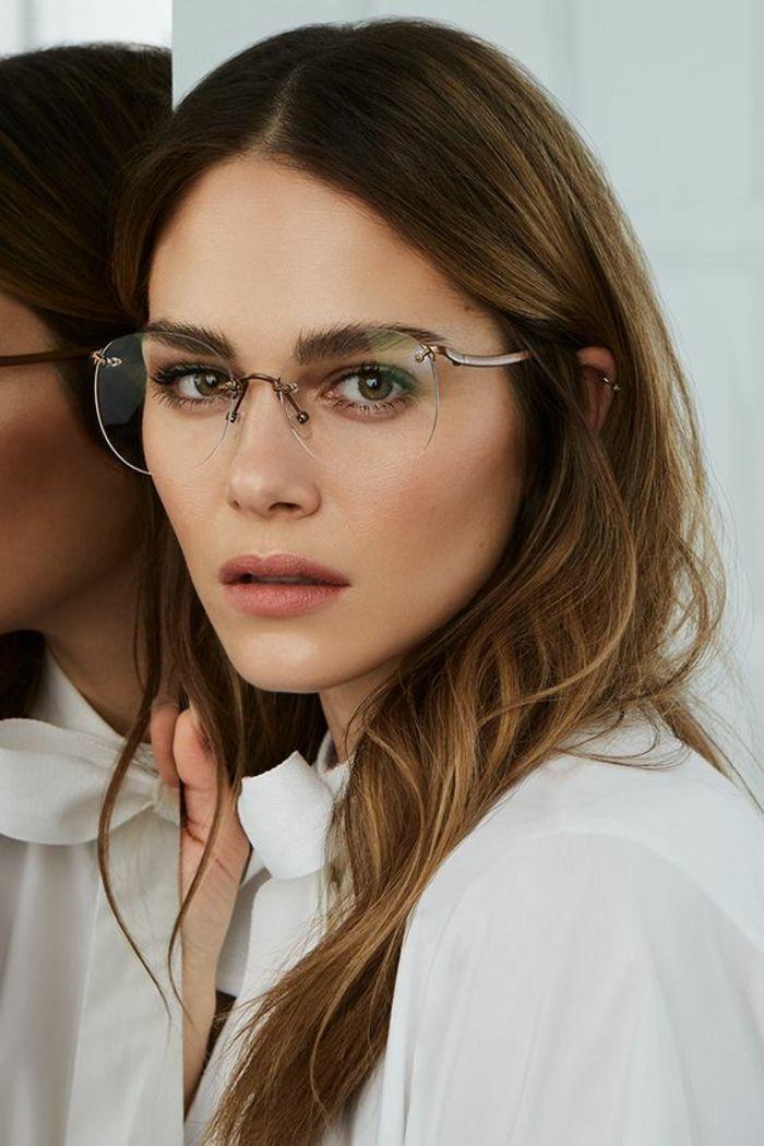 a6fb97f577 lunette tendance, lunette style, luette sans monture, effet délicat, grands  verres en forme ronde, partie en métal couleur de bronze