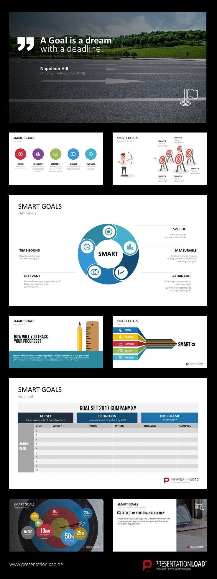 Use our SMART Goals template in attractive flat design to