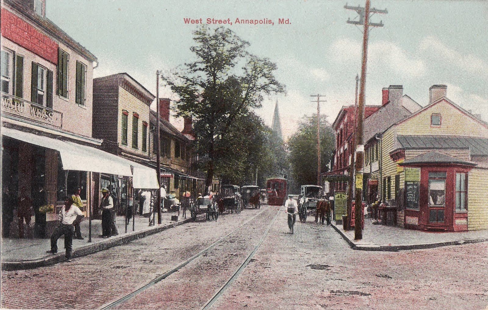 West Street Annapolis Post Card From When There Were Street Cars Annapolis Md Z Annapolis Annapolis Maryland Street