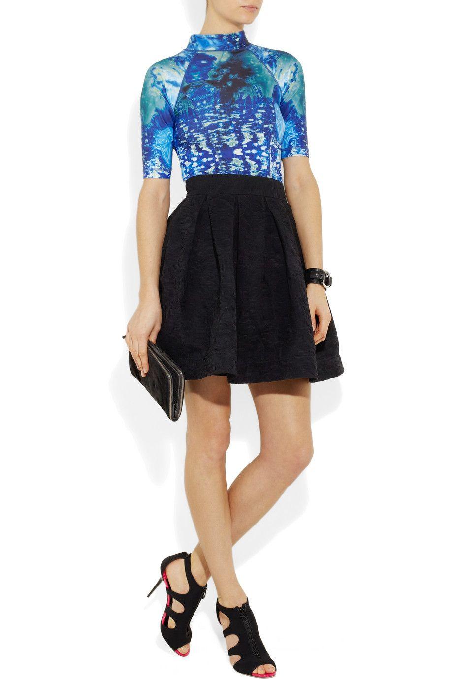 Scuba inspired top -- McQ Alexander McQueen. Skirt, Zac Posen. Shoes, Jimmy  Choo. Clutch, Helmut Lang.   My Style Pinboard   Pinterest   Scubas, Zac po…