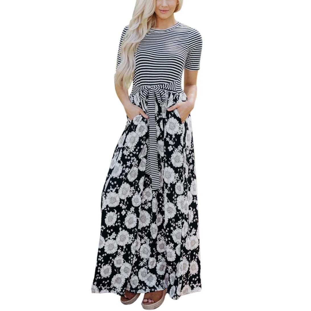 Styledress Sommerkleider Damen Lang,Damen Blumen Kleider Elegant