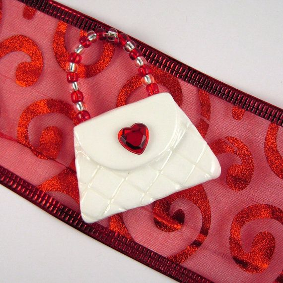 Cute fridge magnet  Mini purse with red heart by lillybugboutique, $11.00