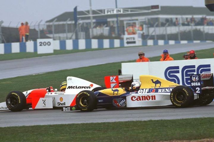 ayrton senna marlboro mclaren ford mp4 8 passing alain prost canon williams renault fw15c. Black Bedroom Furniture Sets. Home Design Ideas