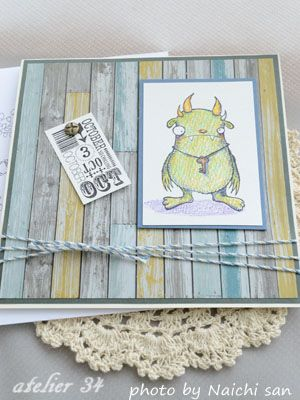 A birthday card for my friends.The monster rubber stamps is from Stampotique Originals.