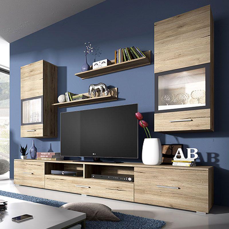 Ensemble Meuble Tv Couleur Bois Et Gris Moderne Irina Ensemble Meuble Tv Meuble Mobilier De Salon